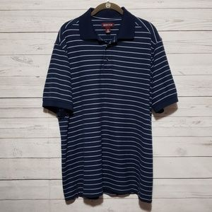 Nordstrom Blue Striped Short Sleeve Polo L
